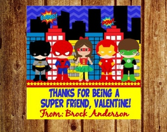 Personalized Super Hero Valentines Day Tag- Super Friend, Valentine Tag -  DIY Printable Favor Tags