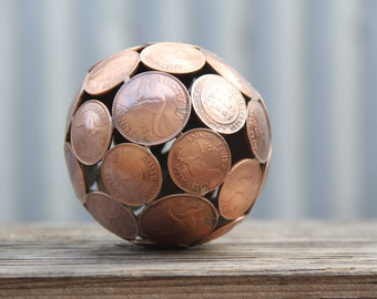 Mini mixed penny ball,  polished, 8.5 cm Penny sphere, Metal sculpture ornament