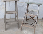 Small Antique Rustic Wooden 3 Step Ladder - Vintage Wood Step Ladder