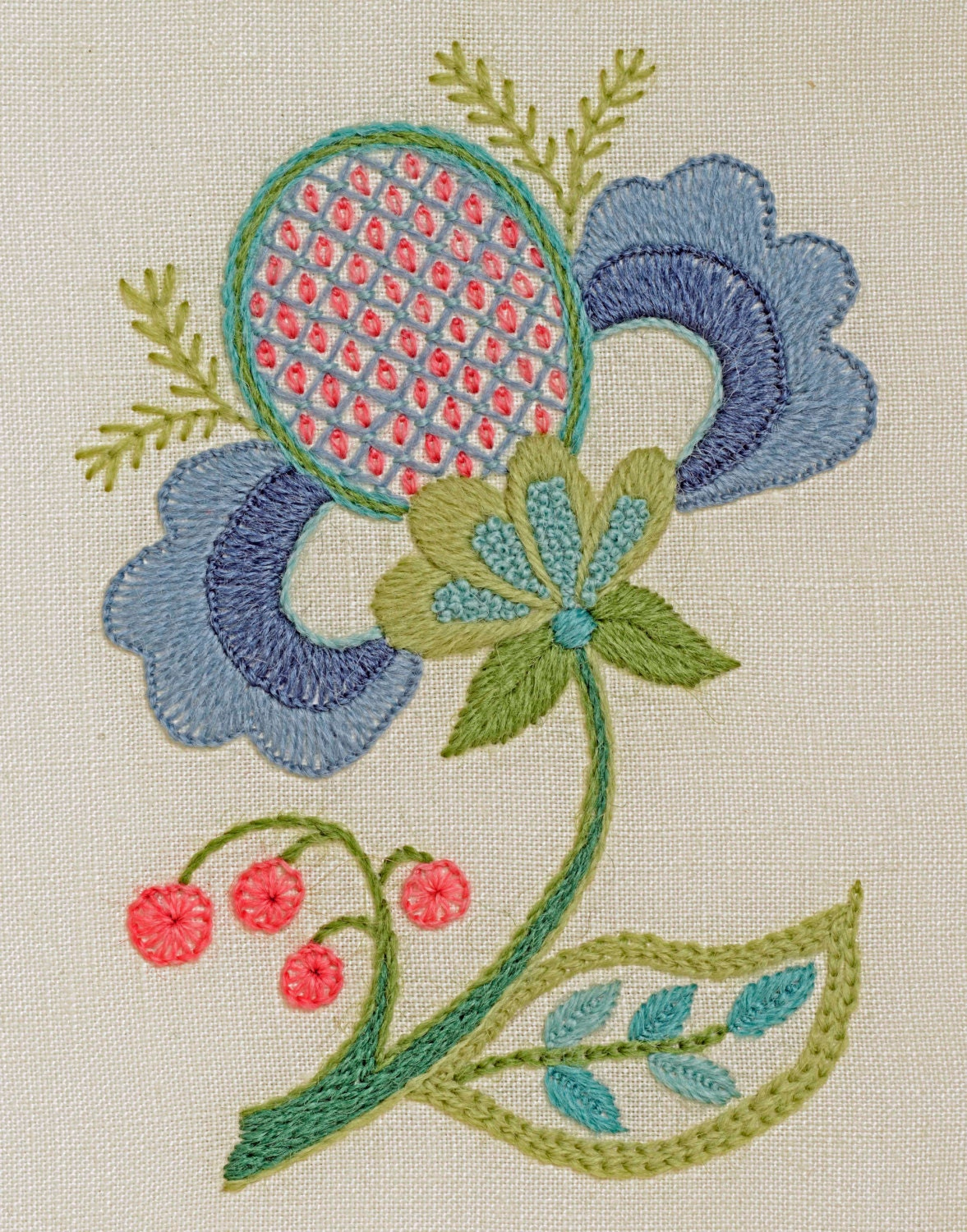 Crewel embroidery kit blue petals from finestitchstudio