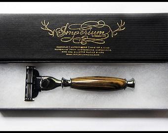 Hand-turned razor handle EBONY