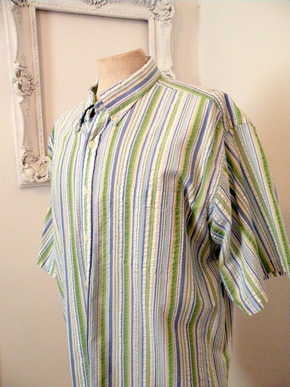 Pastel Blue White Green Striped Short Sleeve Shirt By Ll Bean