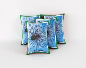CLEARANCE: Araña (spider) Mexican Loteria Mini Pillow with Lavender - Dia De Los Muertos / Day of the Dead sachet, party favor