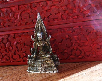 BUDDHA STATUE or female Bodhisattva, Tiny brass Deity, Meditating Deity, Very DETAILED, Goddess, Buddhist Portable altar