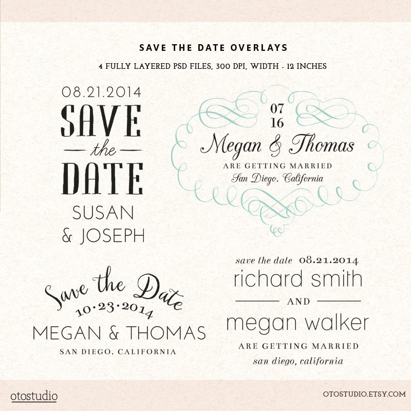 Photoshop save the date overlays wedding photo cards psd for Save the date psd