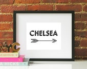 Black White Chelsea Arrow Typography Original Modern Home Office Decor Graphic New York City NYC Pattern Print Poster
