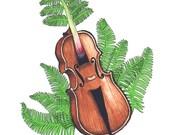 Fern-Headed Fiddle -  Art Print - Watercolor Painting