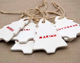 PERSONALISED Christmas tree clay ornament or gift tag