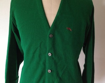 Vintage Green Embroidered Cardigan by Steeplechase Size Medium