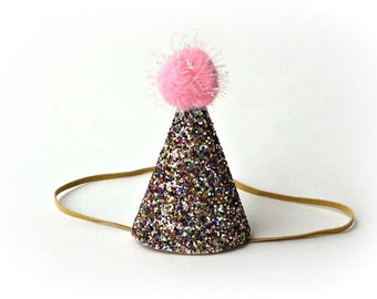 Ready to Ship Rainbow Confetti Glitter First Birthday Party Hat Cone Hat Glitter Fabric