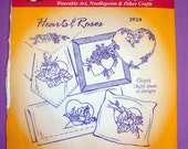 """Aunt Martha's """"Hearts & Roses"""" Hot Iron Transfer Pattern 3934 for Embroidery, Fabric Painting, Needle Crafts"""