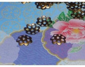 Bronze Bead Caps, 6mm Round Bead Caps, Bronze Findings, Bead Caps, Flower Bead Caps, Metal Findings