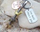 Key Chain - Hand Stamped - Guy Gift - Dad Gift - Fathers Day - Industrial - I'm nuts about you