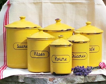 yellow enamel kitchen canisters vintage french storage jars