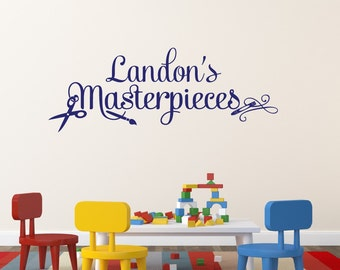 Masterpieces Wall Decal Name Wall Decal Masterpieces Wall Decal Playroom Wall Decal Art Display Decal Children's Name Decal