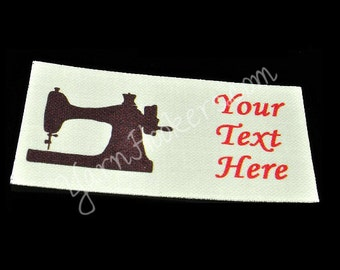Sewing Machine - White Cotton Custom Printed Labels / Sew in Clothing labels / Personalized Fabric Labels - For Crochet, Knit, Sewing