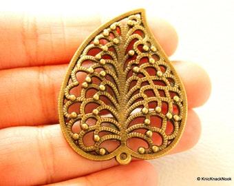 Filigree Leaf Bronze Pendant