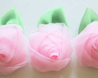 Pink Rose Flower With Green Leaf Applique Patch