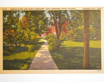 Vintage Postcard, East Tennessee State College, Johnson City - 1940s Linen Paper Ephemera