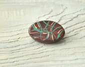 Hand painted Brooch, Mint, Brown, Beige, Green, Mori-girl, For her, Casual, Gift Idea