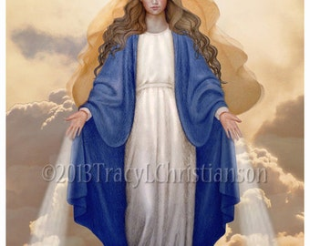 Our Lady of Grace Catholic Art Print, Blessed Virgin Mary #4033