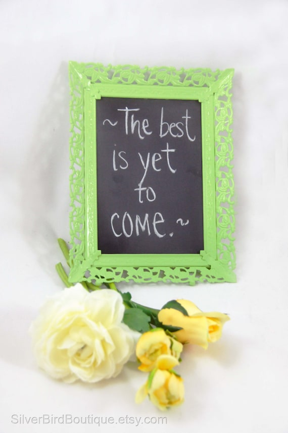 Lime Green Filigree Shabby Chic Framed Chalkboard - Message Board Vintage Frame Upcycle Home Decor - Wedding Sign Blackboard Sign Repurposed