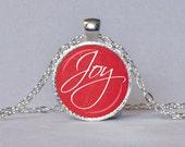 Navidad alegría colgante rojo y blanco collar vacaciones joyería mensaje espiritual inspirador regalo para ella de la alegría
