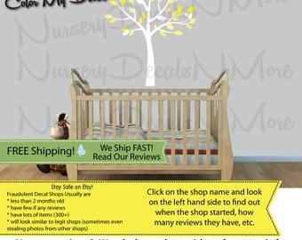 White Tree Decal, Yellow Tree Decal for Nursery, Gender Neutral Nursery (Yellow Gray Mini Small Tree) MSmTO
