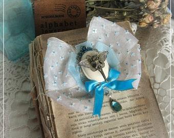 """ITBURNSMYSKIN for 20% off-Romantic assemblage brooch-Lolita brooch-Assemblage-Bird Skull - Butterfly-Repurposed-""""Fairy Skull for a Trophy"""""""