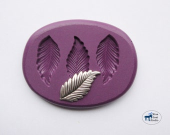 Leaf Trio Mold/Mould - Small Leaf/Feather Mold - Silicone Molds