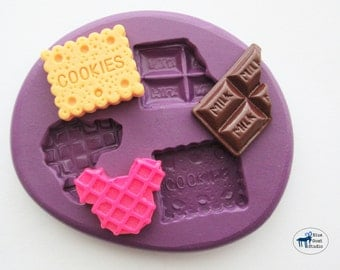 Decoden Sweets Mold/Mould - Cookie Chocolate Bar Waffle - Silicone Molds - Kawaii Sweets - Polymer Clay Resin Fondant