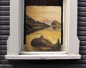 German Painting on Board by V. Gasteiger 1947 Signed. Old Original Art.