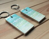 Eco friendly keychain, keyring, modern accessories, wooden k…cycled, mint, green, fresh, icy, ombre, gift, winter, spring
