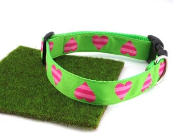 "Pink Hearts On Lime Green Valentine Spring Summer Dog Collar, 1"" Wide"