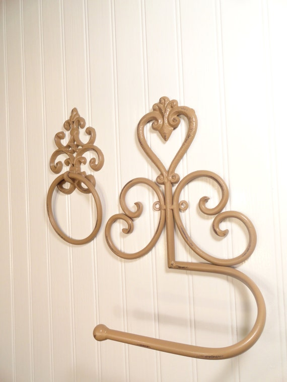 Towel ring toilet tissue holder fleur de lis by junkintime on etsy - Fleur de lis toilet paper holder ...