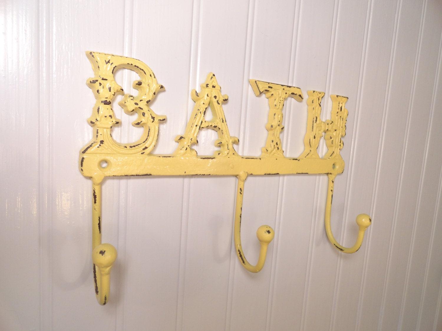 Yellow bathroom decor cast iron bathroom towel hook towel rack for Bathroom accessories yellow