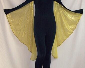 Black Spandex with Gold Sequin Wings Unitard Catsuit Bodysuit Jumpsuit - Medium