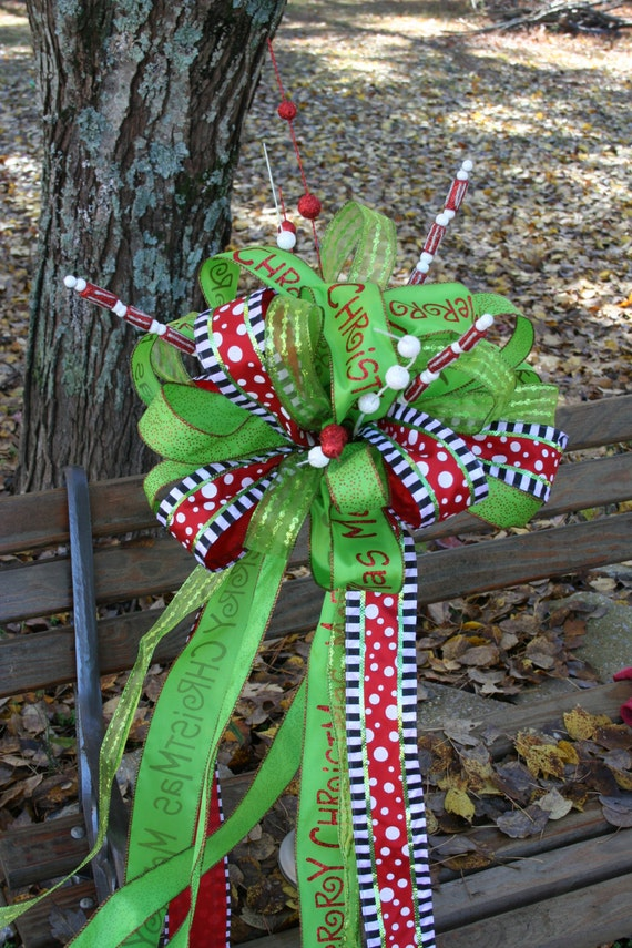 christmas tree topper bow topper ribbon topper lime topper. Black Bedroom Furniture Sets. Home Design Ideas