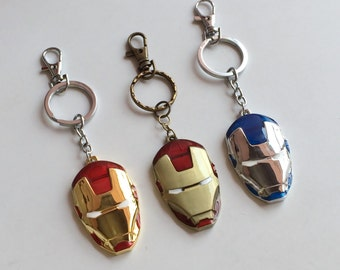 SUPERHEROS Bronze Gold Silver Ironman Key Chain Bag Charm, Superhero, Ironman Avenger KC57