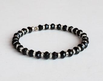 Black Polish Crystals Bracelet, 1 Strand Memory Wire Bracelet B28