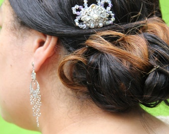 """Retro Inspired Small  Comb with Crystals, Pearl, and Amber Swarovski Crystal Detail """"Carly"""""""