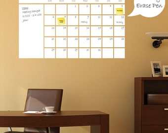 Dry Erase Calendar   Wall Calendar, Wall Planner, White Board Wall Decal    Calendar Part 60