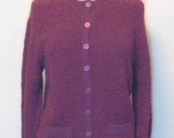 Vintage 1970s Cardigan/Hand Knitted/Purple/Aubergine/Round Buttons/Soft/Round Neckline/Pockets/Ribbed detailing/Wool / Black Friday