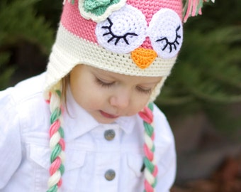 Crochet Sleepy Owl Hat With Earflaps (Ready To Ship Sale!)