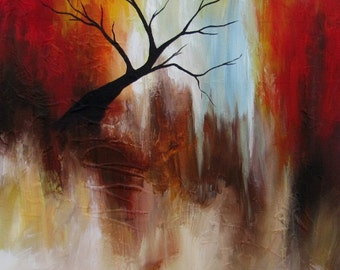 "Original ABSTRACT Painting by CES - Surreal Tree Red Texture Canada Modern Fine ART 18"" x 24"""