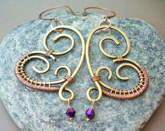 Wire Wrapped Heart Brass Earrings with Violet Quartzite  - wire wrapped jewelry handmade - wire wrapped Earrings handmade