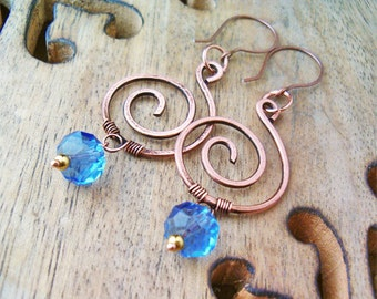 Wire Wrapped Spiral Earrings Copper and Blue Quartzite Pendant- wire wrapped jewelry handmade - Copper Jewelry