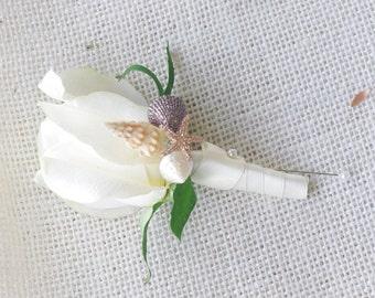 Rose and Beach Seashells Wedding Boutonniere