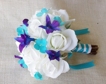 Silk Wedding Bouquet with Off White Roses, Blue Purple and Teal Turquoise Hydrangeas - Natural Touch Silk Flower Bouquet