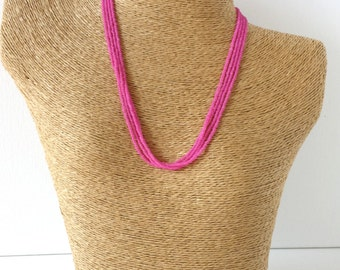 Hot pink necklace, fandango beaded necklace, magenta minimalist necklace, dainty necklace, seed bead necklace, bridesmaid gift,barbie pink